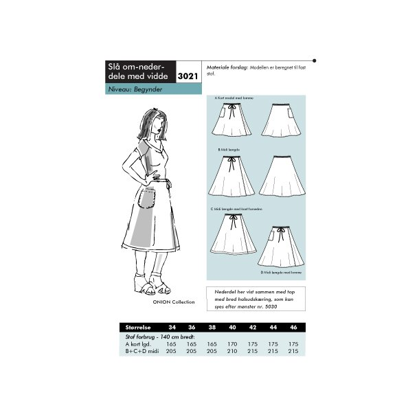 3021 Slå om-nederdel med vidde