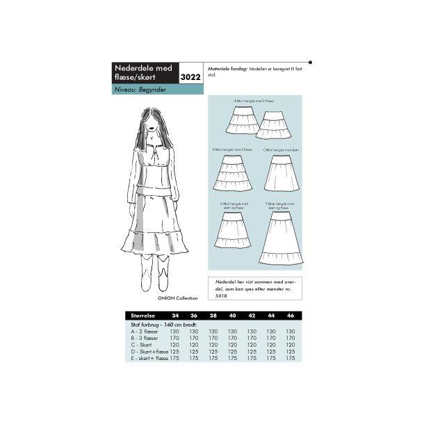 3022 Nederdele med flæse/skørt