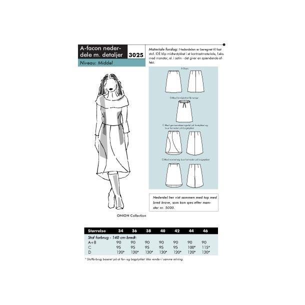 3025 A-facon nederdele m. detaljer