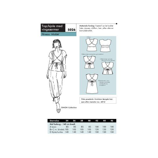 5026 Top/kjole med vingeærmer